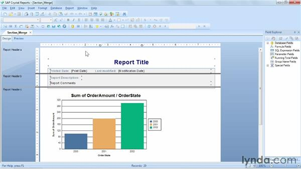 Merging report sections: Crystal Reports 2011 Essential Training