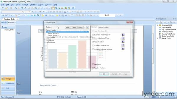 Managing section order: Crystal Reports 2011 Essential Training