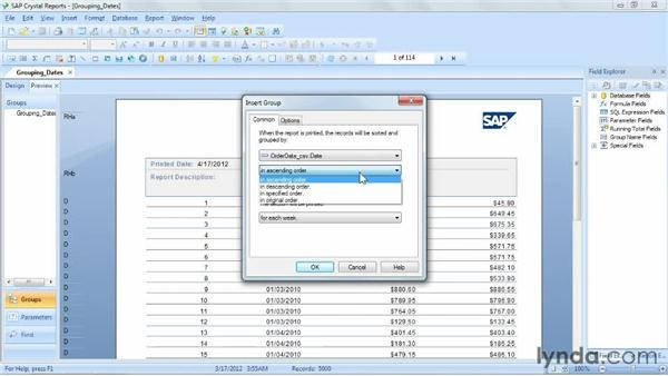 Grouping data based on dates and times: Crystal Reports 2011 Essential Training