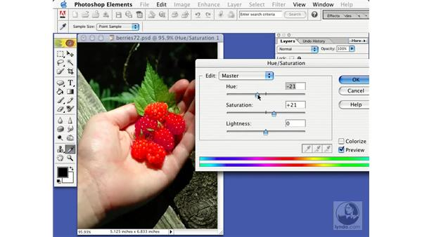 using adjustment layers: Learning Photoshop Elements 2
