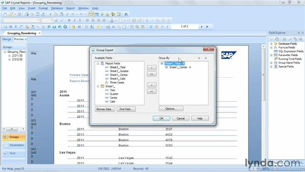 Reordering and deleting groups: Crystal Reports 2011 Essential Training