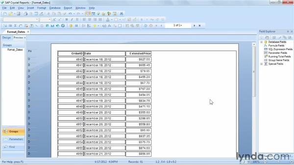 Applying formats to date fields: Crystal Reports 2011 Essential Training