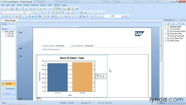 Creating a chart using the Group layout: Crystal Reports 2011 Essential Training