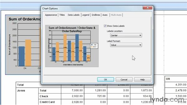 Formatting chart elements: Crystal Reports 2011 Essential Training