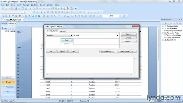 Selecting records using multiple fields: Crystal Reports 2011 Essential Training