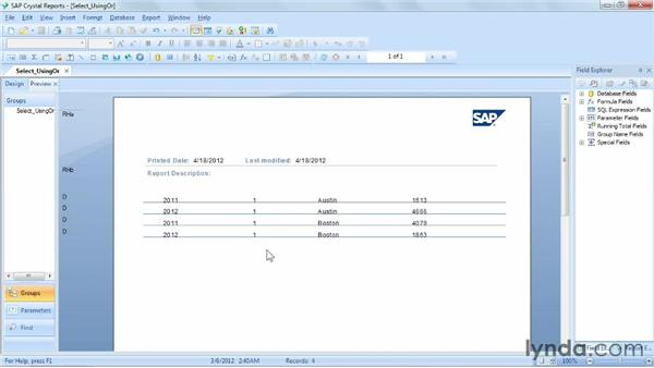 Creating selection rules using the Or operator: Crystal Reports 2011 Essential Training