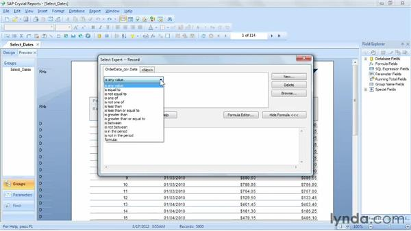Selecting records based on dates: Crystal Reports 2011 Essential Training
