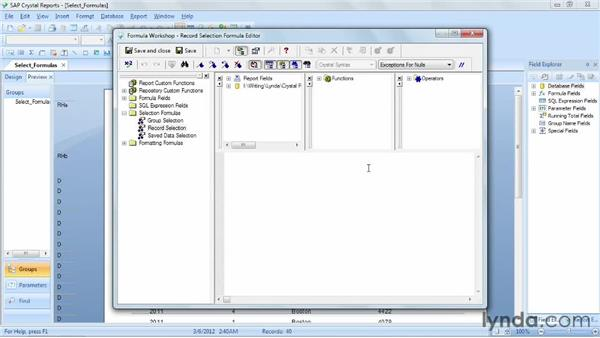 Selecting records using formulas: Crystal Reports 2011 Essential Training