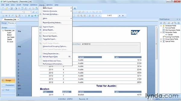 Creating a parameter field by entering a list of values: Crystal Reports 2011 Essential Training