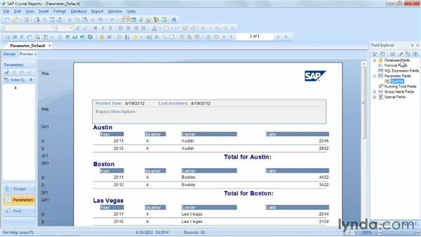 Defining default parameter values: Crystal Reports 2011 Essential Training