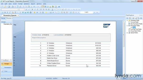 Allowing dynamic parameters: Crystal Reports 2011 Essential Training