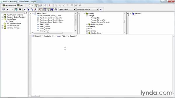 Adding if-then logic to formulas: Crystal Reports 2011 Essential Training