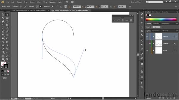 Adjusting control handles: Illustrator CS6 One-on-One: Fundamentals