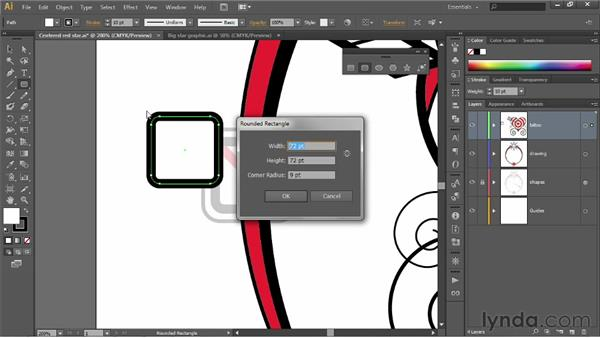 Drawing rounded rectangles: Illustrator CS6 One-on-One: Fundamentals