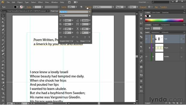 Working with point text: Illustrator CS6 One-on-One: Fundamentals