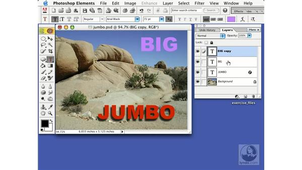 text with effects and layer styles: Learning Photoshop Elements 2
