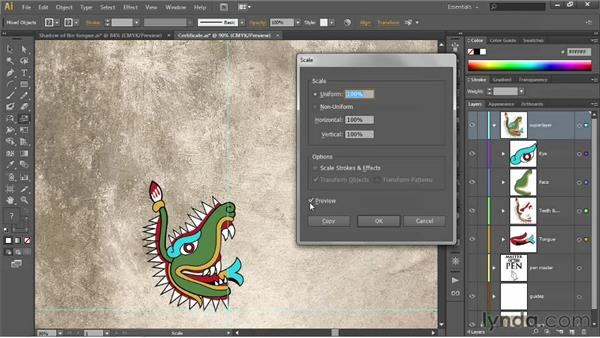 Copying and transforming entire layers: Illustrator CS6 One-on-One: Fundamentals