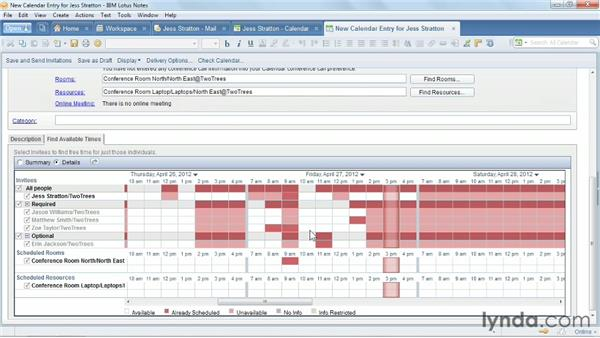 Using the Scheduler to find the right time for a meeting: Up and Running with Lotus Notes