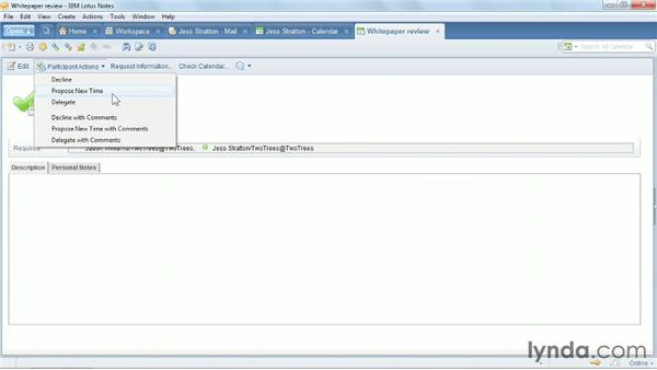 Responding to a meeting invitation: Up and Running with Lotus Notes
