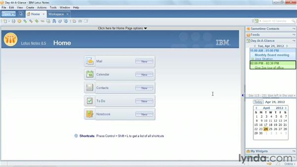 Using the Day-At-A-Glance feature: Up and Running with Lotus Notes