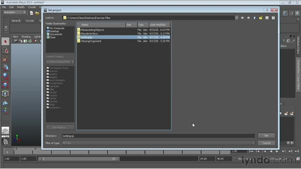 Working with projects: Maya Essentials 1: Interface and Organization