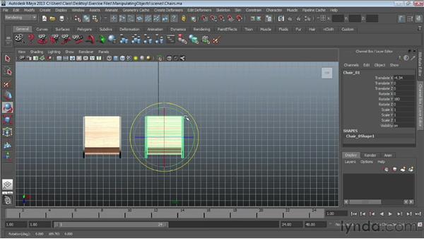 Rotating and scaling : Maya Essentials 1: Interface and Organization
