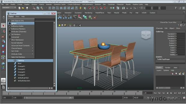 Working with the Outliner : Maya Essentials 1: Interface and Organization
