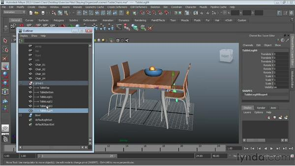 Grouping objects : Maya Essentials 1: Interface and Organization