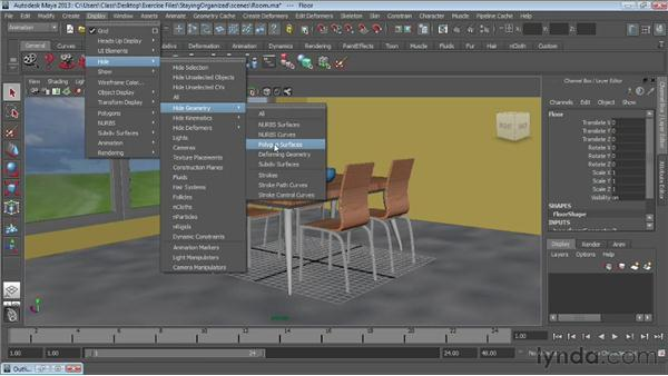 Hiding and showing objects : Maya Essentials 1: Interface and Organization