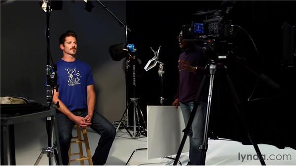 Creating a four-point lighting setup for a scene: Foundations of Video: Cameras and Shooting