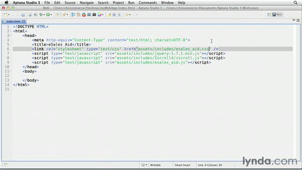 Opening the project files in a web or text editor: Create an iPad Web App