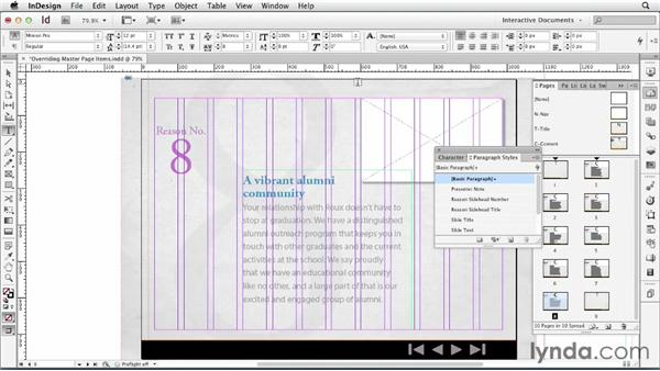 Overriding master page items : InDesign CS6: Interactive Documents