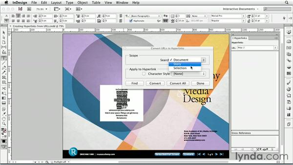 Creating hyperlinks from URLs: InDesign CS6: Interactive Documents