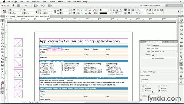 Creating text fields and signature fields: InDesign CS6: Interactive Documents