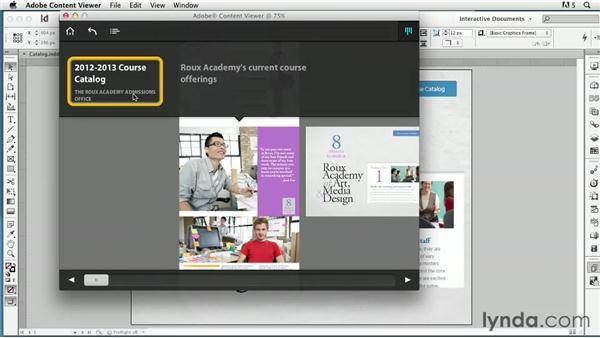 Using the Content Viewer to preview a folio: InDesign CS6: Interactive Documents