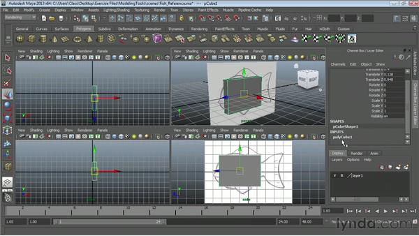 Modeling with reference images: Maya Essentials 2: Polygonal Modeling Techniques
