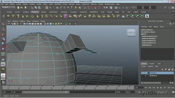 Using the Extrude tool: Maya Essentials 2: Polygonal Modeling Techniques