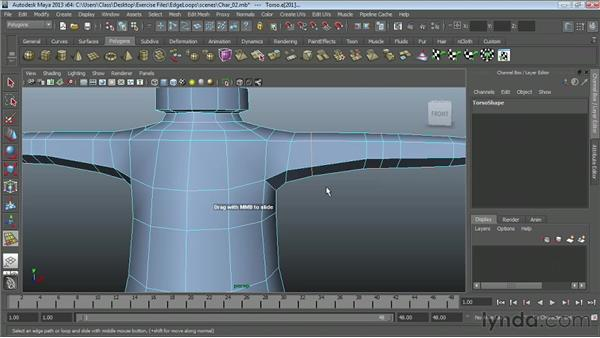 Using the Slide Edge tool : Maya Essentials 2: Polygonal Modeling Techniques