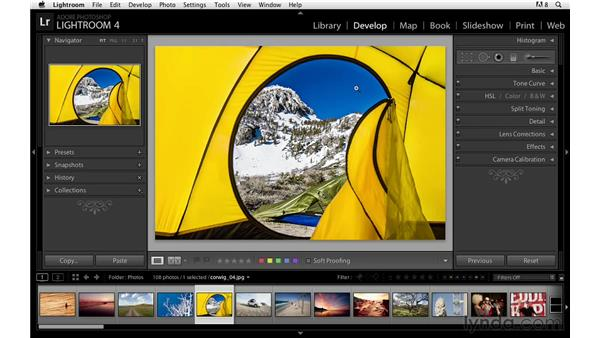 Minimizing different areas of the interface: Lightroom Power Shortcuts