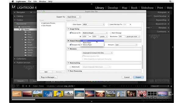 Exporting a photograph: Lightroom Power Shortcuts