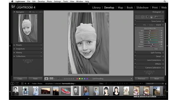Quickly converting to black and white: Lightroom Power Shortcuts