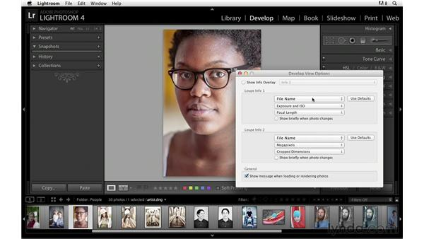 Showing information overlays: Lightroom Power Shortcuts