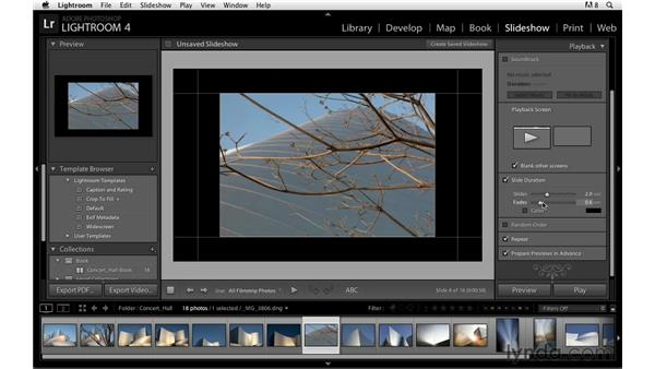 Creating a custom template and saving the slideshow: Lightroom Power Shortcuts