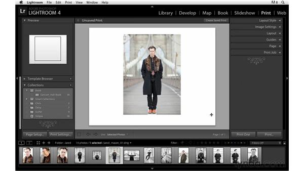 Choosing the Print module and changing the page settings: Lightroom Power Shortcuts