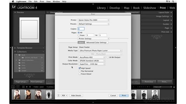 Modifying the print settings: Lightroom Power Shortcuts