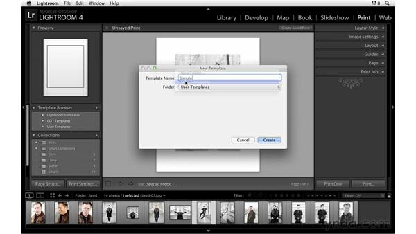 Creating a custom template and saving the print: Lightroom Power Shortcuts
