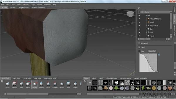 Using the sculpt tools in Mudbox: Game Prop Creation in 3ds Max