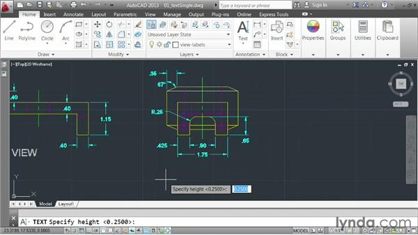 Creating single-line text: AutoCAD 2013 Essentials: 04 Annotating a Drawing