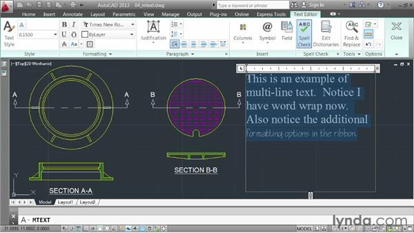 Annotating with multi-line text: AutoCAD 2013 Essentials: 04 Annotating a Drawing
