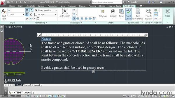 Editing text: AutoCAD 2013 Essentials: 04 Annotating a Drawing
